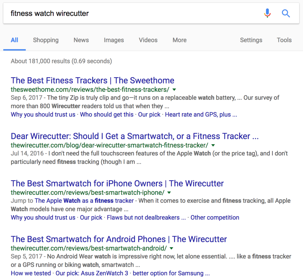 The Wirecutter google search
