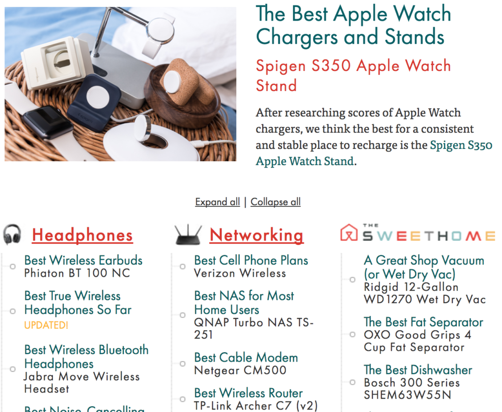 The Wirecutter home page